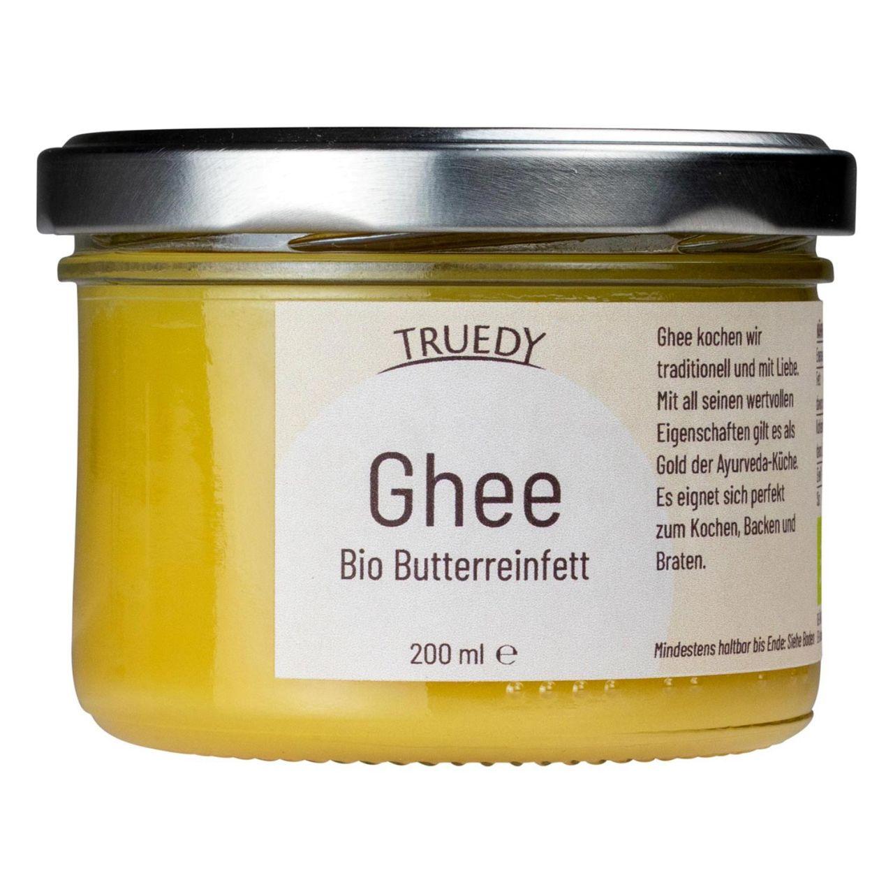 Truedy Ghee Schraubglas Bio Butterreinfett von vorne